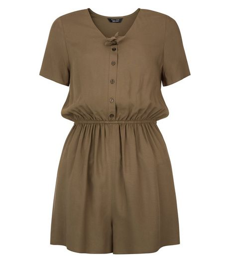 Teens Khaki Knot Front Playsuit | New Look