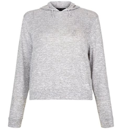 Teens Grey Fine Knit Hoodie | New Look