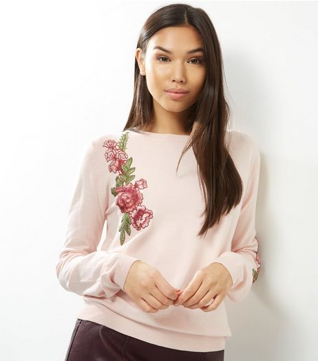 Cameo Rose Shell Pink Floral Embroidered Jumper | New Look
