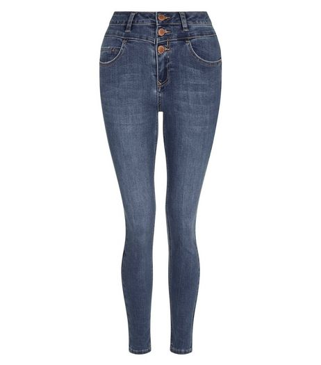 Teens Blue High Waist Triple Button Skinny Jeans | New Look