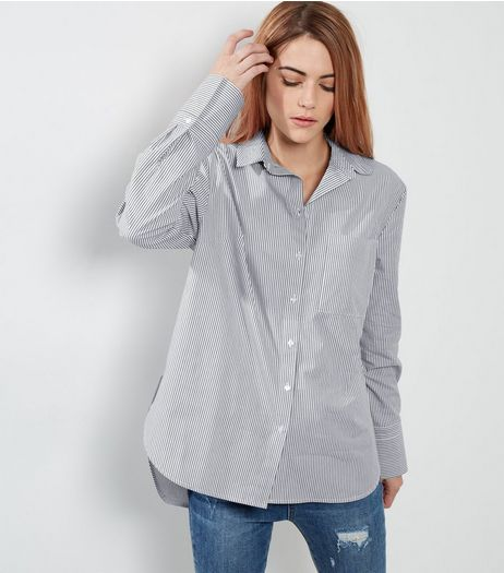 Light Grey Stripe Wide Cuff Shirt  | New Look