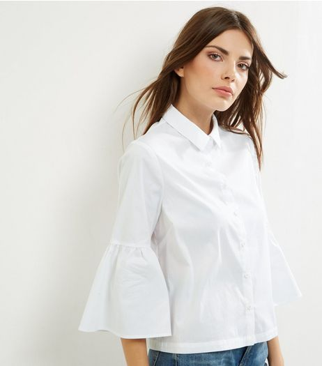 White Bell Sleeve Shirt | New Look