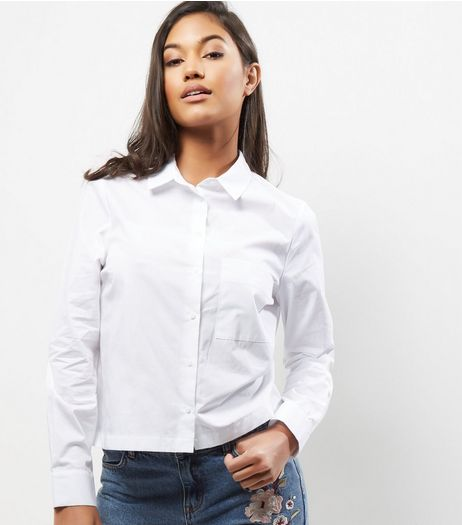 White Cropped Shirt | New Look