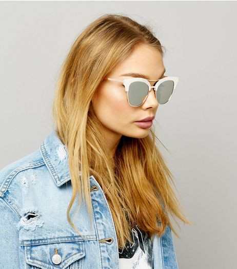 Silver Frosted Bar Detail Sunglasses | New Look