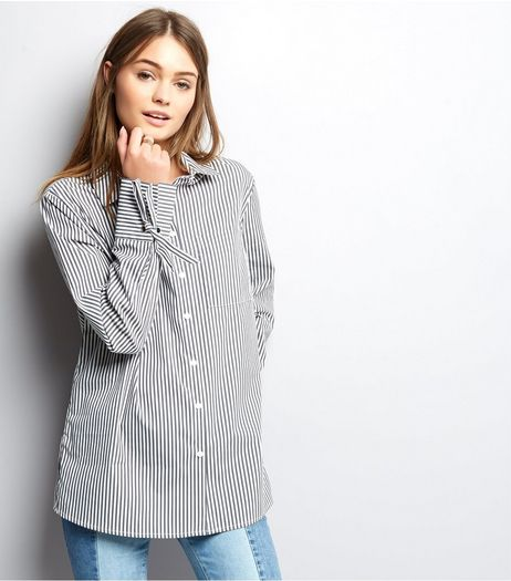 Light Grey Stripe Tie Sleeve Shirt  | New Look