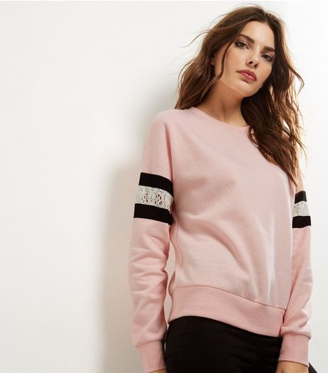 Pink Lace Panel Sleeve Sweater | New Look