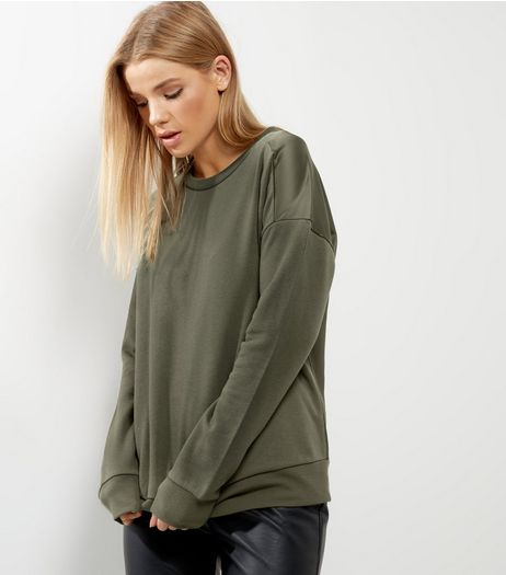 Khaki Sateen Back Sweater  | New Look