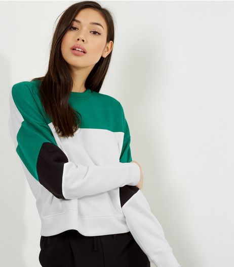 Green Colour Block Sweater | New Look