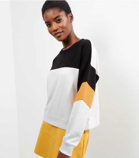 White Colour Block Long Sleeve Sweater  | New Look