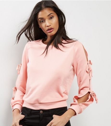 Pink Lace Up Sleeve Sweater  | New Look