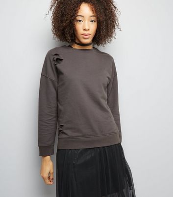 Dark Grey Long Sleeve Sweater