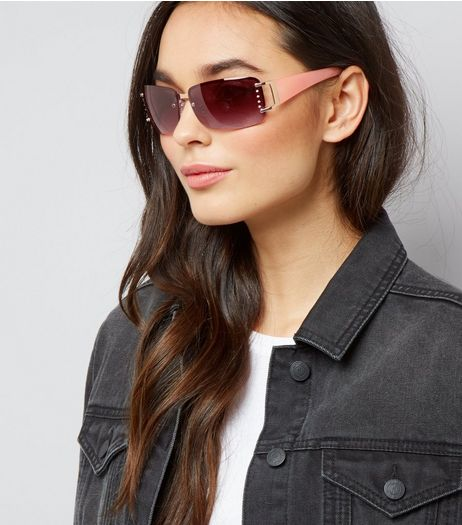 Pink Diamante Side Rimless Sunglasses | New Look