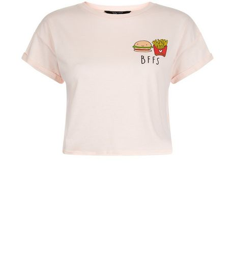 Teens Pink BFFS Print Crop Top  | New Look
