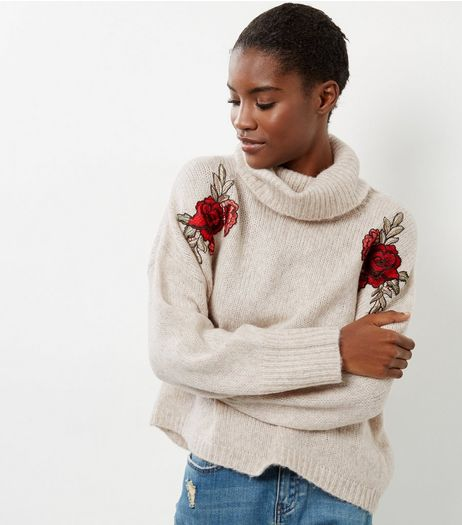 Cream Floral Embroidered Cowl Neck Cropped Jumper  | New Look