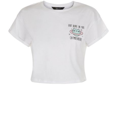 Teens White Out Here In The Catmosphere Cropped T-shirt | New Look