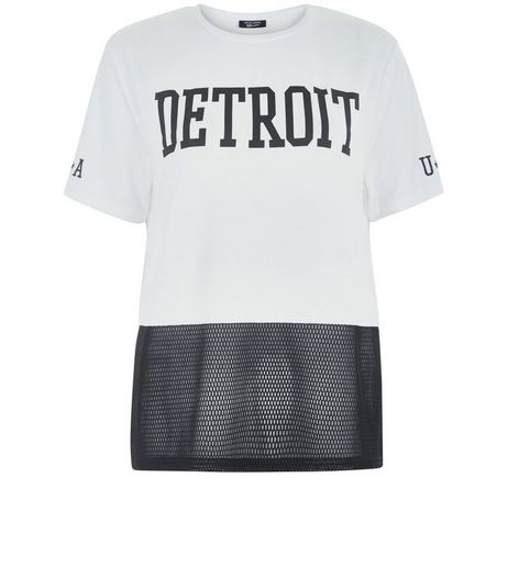 Teens White Detroit Mesh Panel Oversized T-shirt | New Look