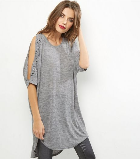Blue Vanilla Grey Stud Batwing Sleeve Top | New Look