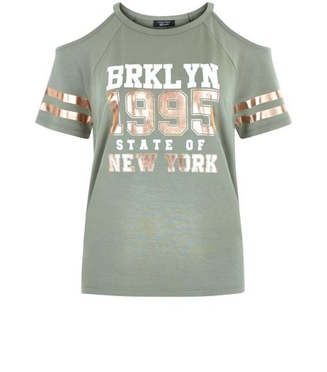 Teens Khaki Brooklyn 1995 Print Cold Shoulder T-Shirt | New Look