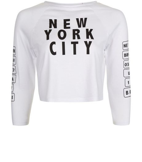 Teens White New York City Slogan Top | New Look