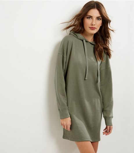 Khaki Long Sleeve Hooded Jumper Dress | New Look