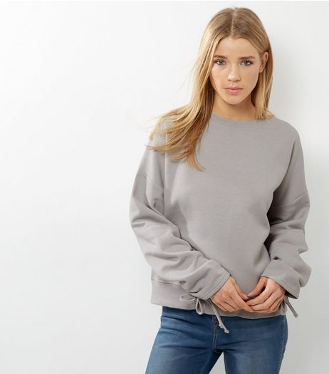 Pale Grey Ruched Sleeve Sweater  | New Look