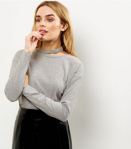 Grey Cut Out Panel Long Sleeve Top  | New Look