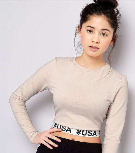Teens Shell Pink #USA Logo Hem Crop Top | New Look