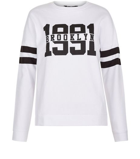 Teens White 1991 Brooklyn Print Sweater  | New Look