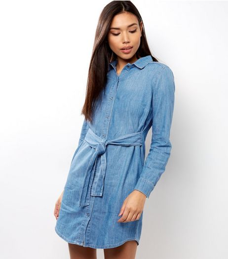 Blue Tie Front Long Sleeve Denim Dress | New Look