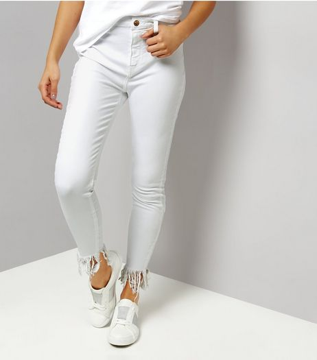 White Flared Fray Hem Skinny Jeans | New Look