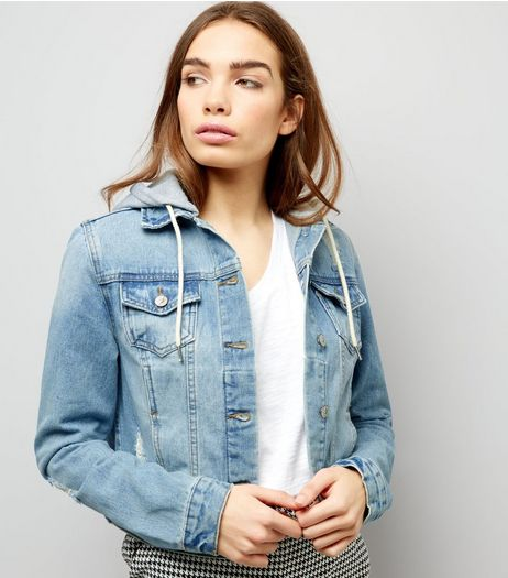 Blue 2 in 1 Hooded Denim Jacket | New Look