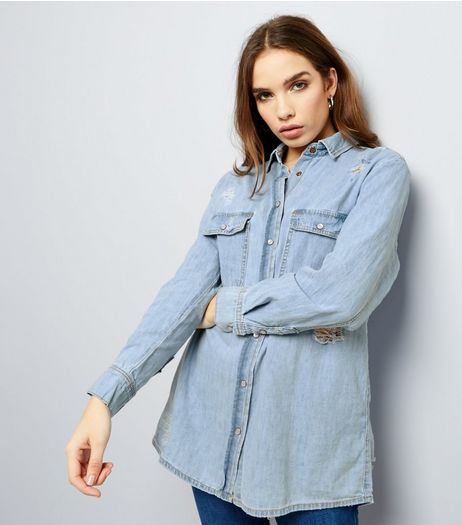 Blue Ripped Denim Boyfriend Shirt | New Look