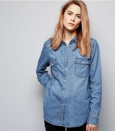 Blue Denim Double Pocket Shirt | New Look
