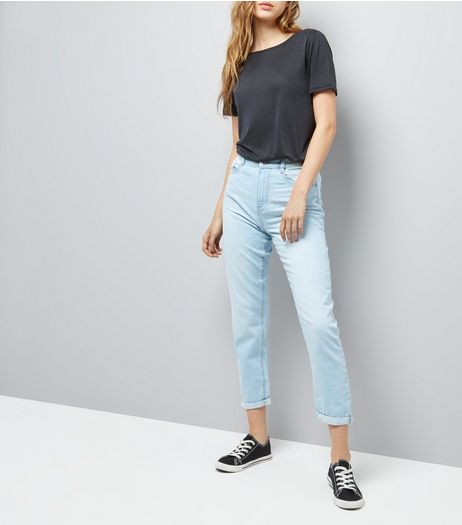 Light Blue Roll Hem Mom Jeans | New Look