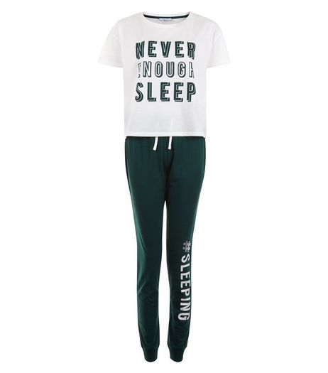 Teens Green Never Sleep Enough Pyjama Set | New Look