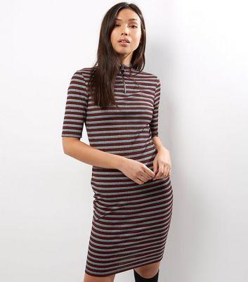 Grey Stripe Funnel Neck Zip Front Bodycon Dress
