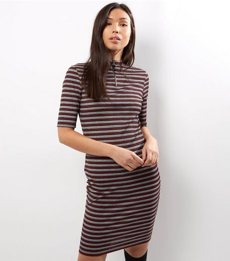 Grey Stripe Funnel Neck Zip Front Bodycon Dress | New Look