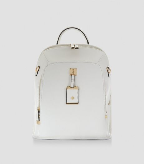 White Structured Backpack | New Look