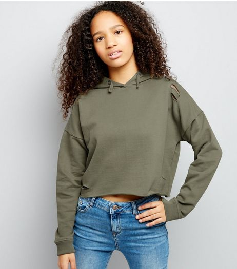 Teens Khaki Ripped Cropped Hoodie | New Look