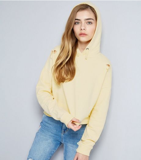 Teens Yellow Ripped Cropped Hoodie | New Look