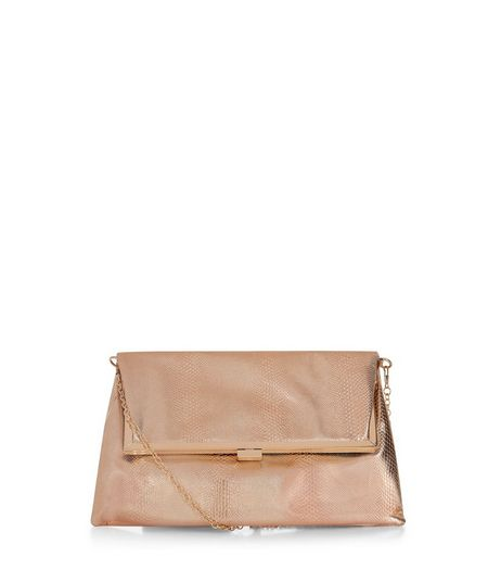Rose Gold Metallic Snakeskin Fold Over Clutch | New Look