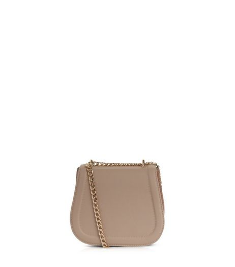 Shell Pink Snakeskin Textured Chain Strap Bag | New Look