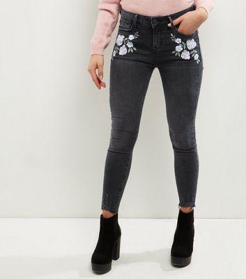 Petite Dark Grey Floral Embroidered Raw Hem Jeans