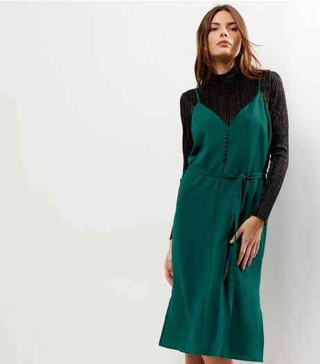 Dark Green Button Front Slip Dress | New Look