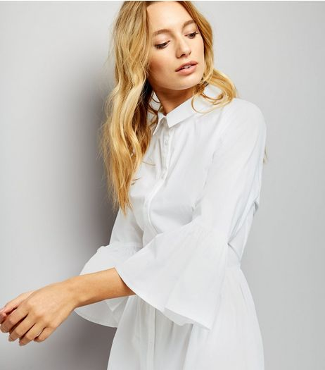 White Bell Sleeve Cotton Shirt Dress | New Look