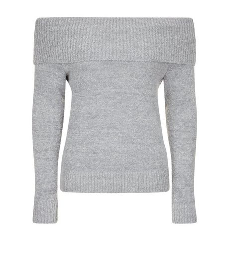 Teens Grey Fold Over Bardot Neck Jumper  | New Look