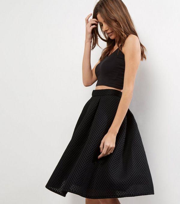 Blue Vanilla Black Mesh A-Line Midi Skirt