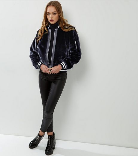 Blue Vanilla Navy Faux Fur Bomber Jacket | New Look