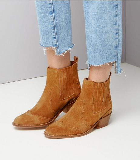 Tan Suede Square Toe Western Boots  | New Look