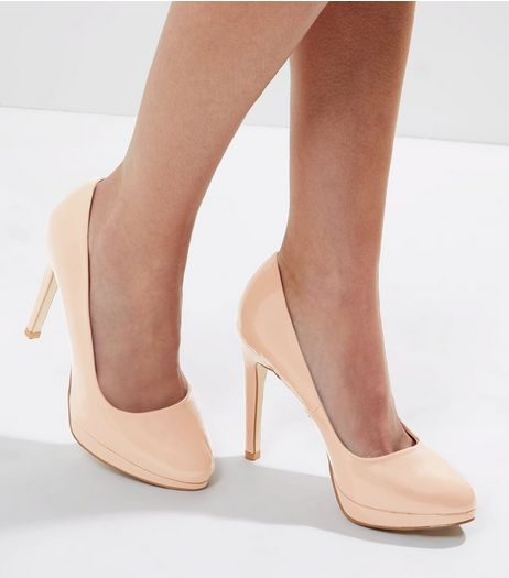 Cream Patent Platform Court Shoes | New Look